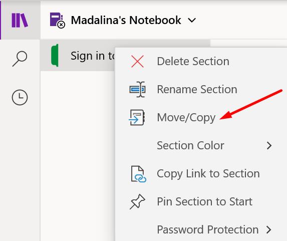 onenote section move copy