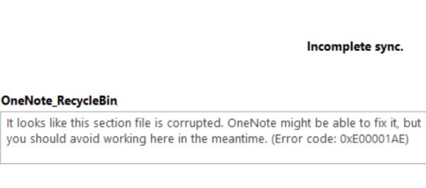 onenote sync error 0xe00001ae