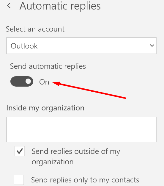 outlook automatic reply settings