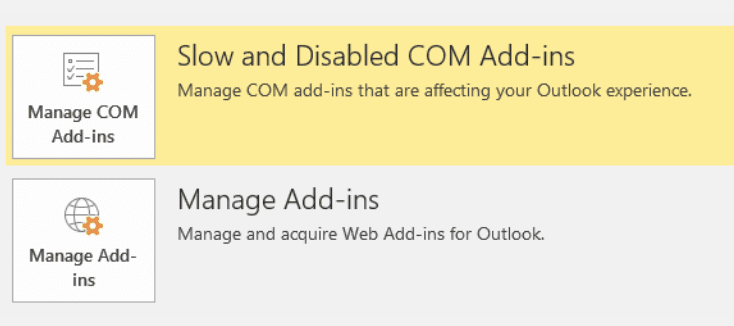 outlook manage add-ins