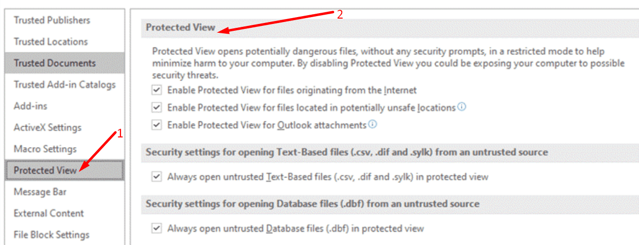 protected view settings