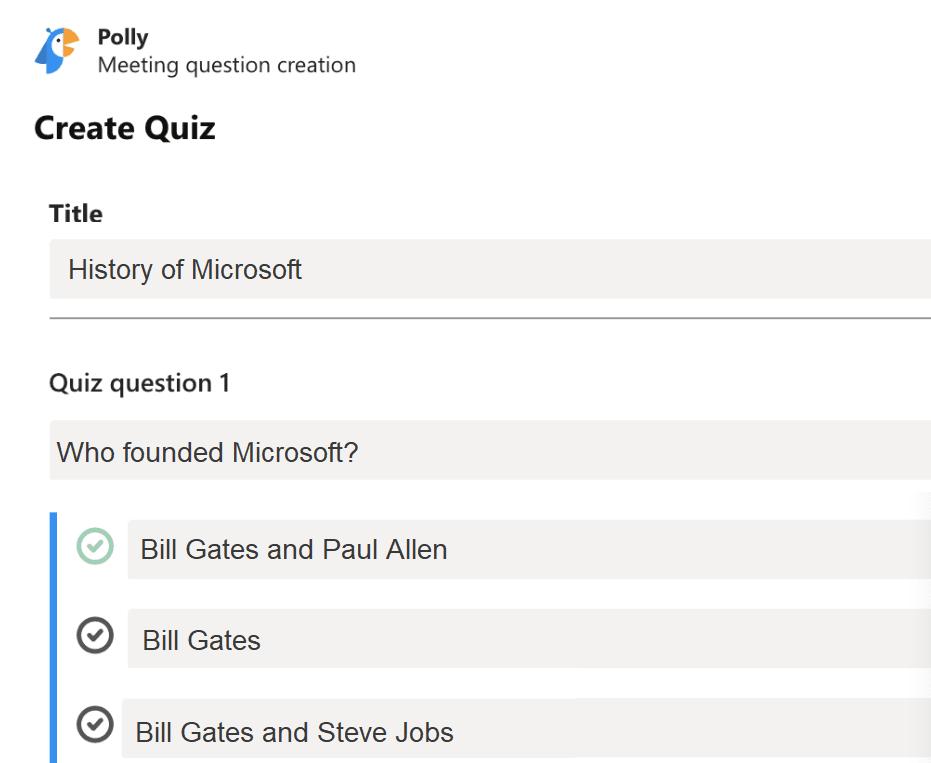 quiz polly ms teams