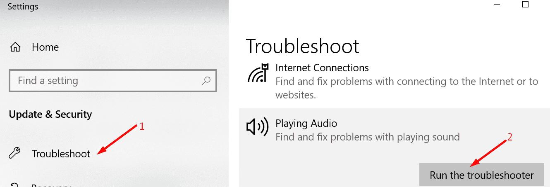run playing audio troubleshooter windows 10