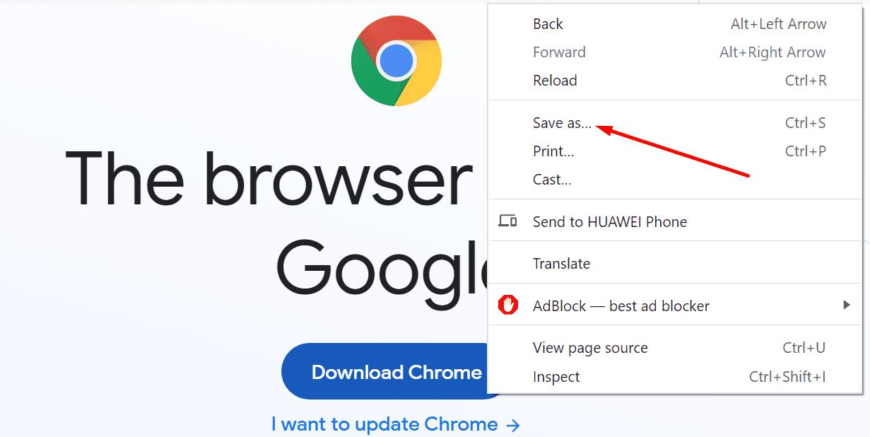save as option google chrome