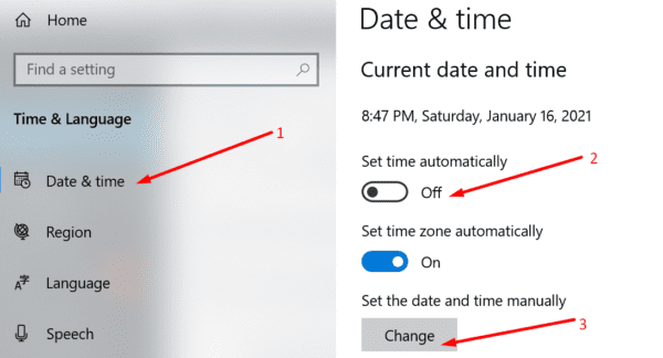 set date time manually windows 10