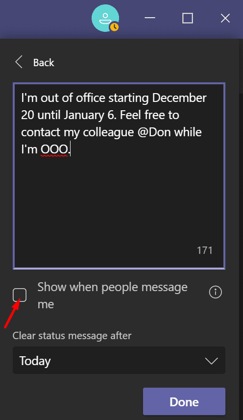 set out of office message microsoft teams