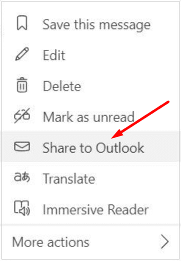 share to outlook ms teams chat