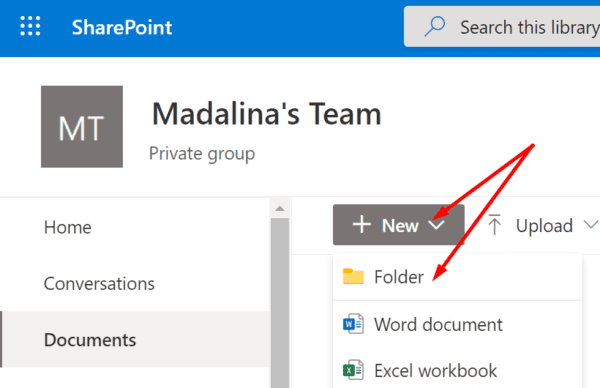 sharepoint new folder