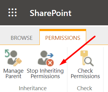 sharepoint stop inheriting permissions