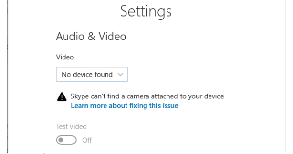 Skype: Can't Find a Camera Attached to Your Device