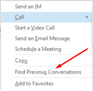 skype for business find previous conversations