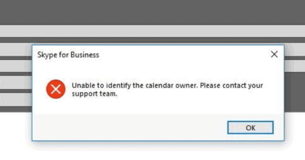 Skype Error: Unable to Identify the Calendar Owner