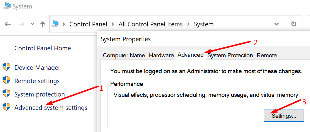 system properties advanced