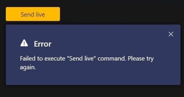 teams failed to execute send live command