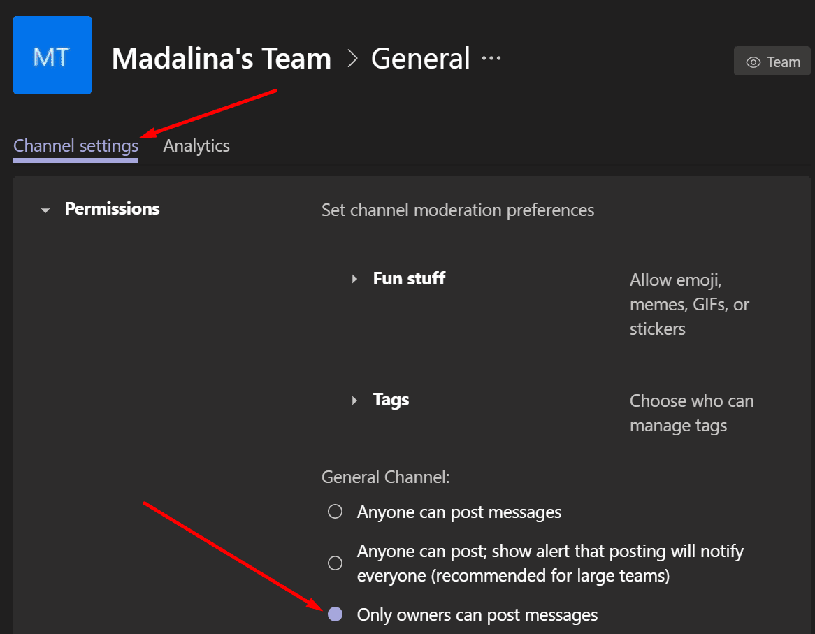 teams only owners can post messages