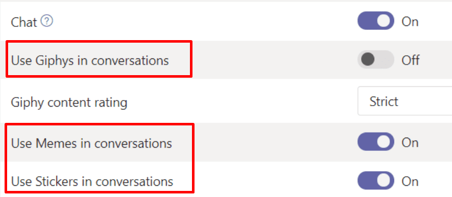 turn off animations teams admin center