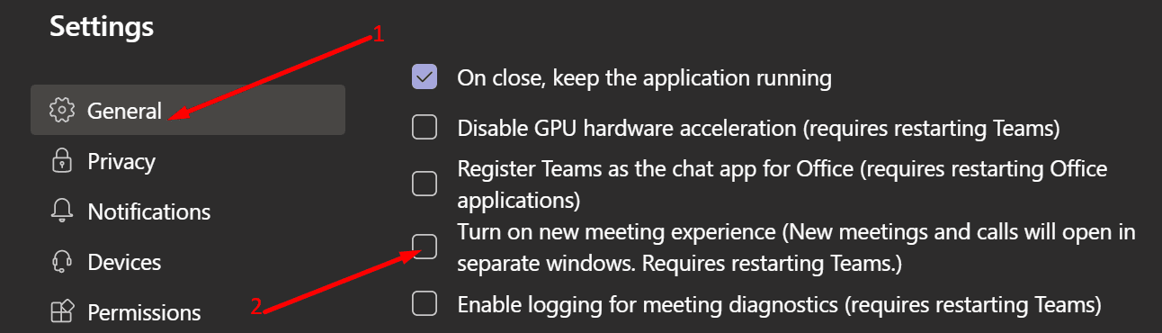 turn off new meeting experience ms teams