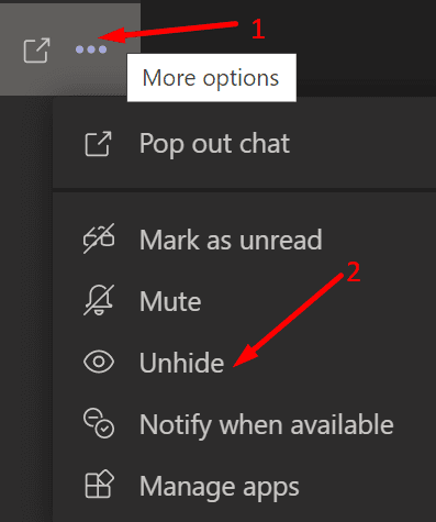 unhide microsoft teams chat