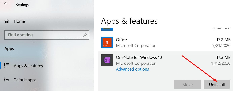 uninstall aplikasi onenote windows 10