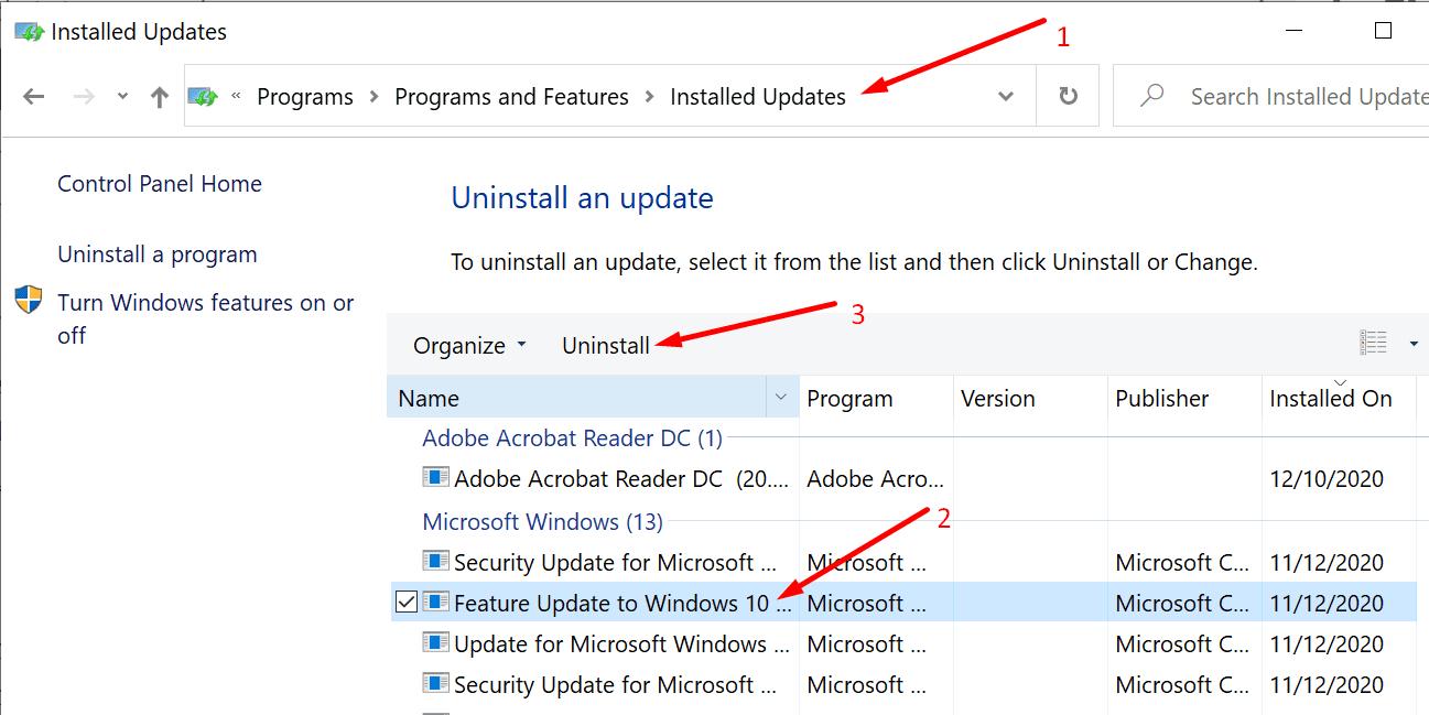uninstall windows 10 update control panel