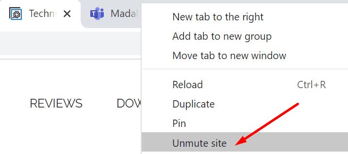 unmute teams browser tab