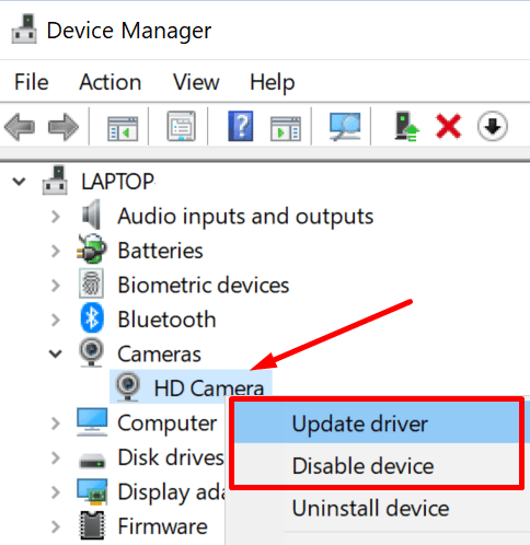 update camera driver windows 10