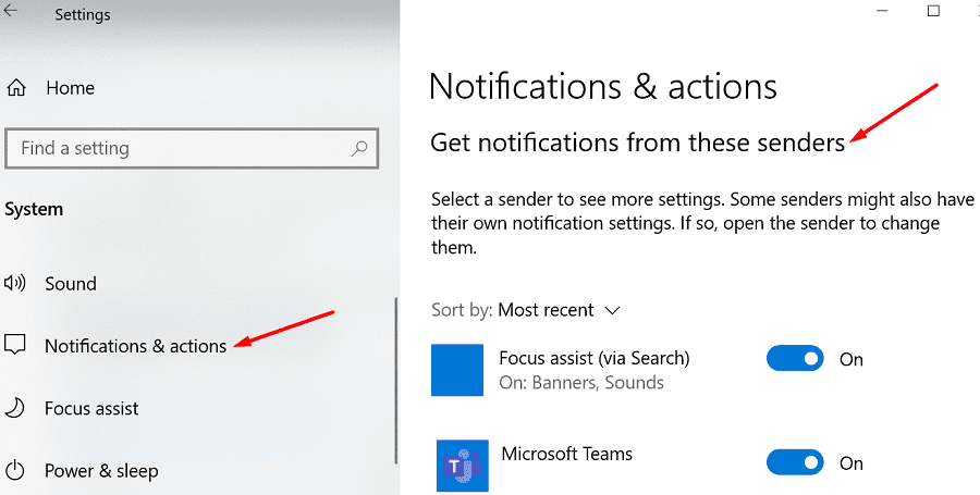 windows 10 get notifications from these senders