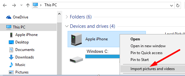 windows 10 import pictures and videos iphone