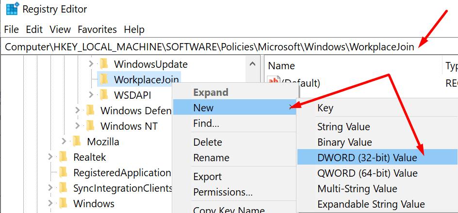 workplacejoin windows registry