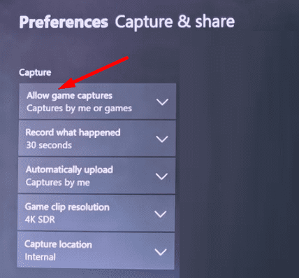 xbox allow game captures by me or games