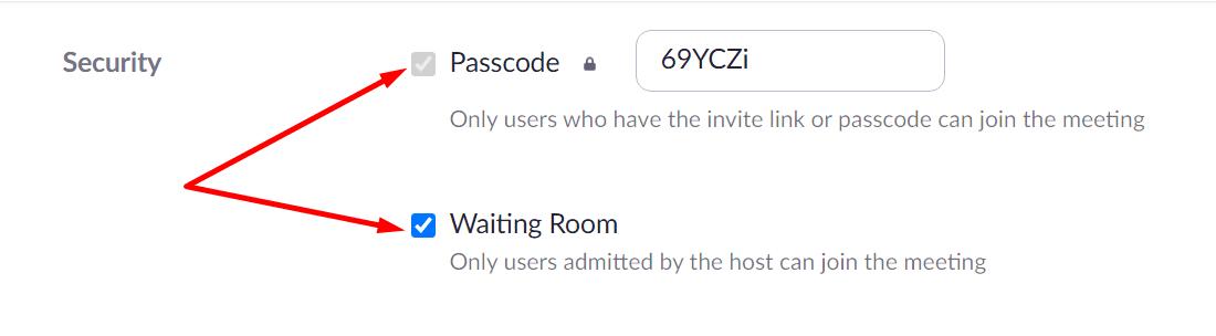 zoom set up passcode waiting room