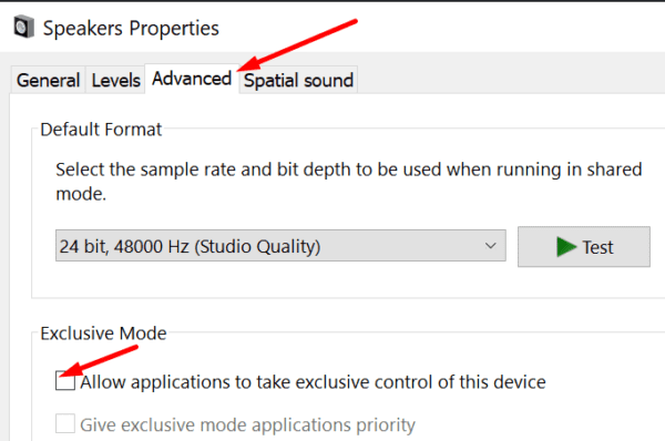 Allow applications to take exclusive control of device