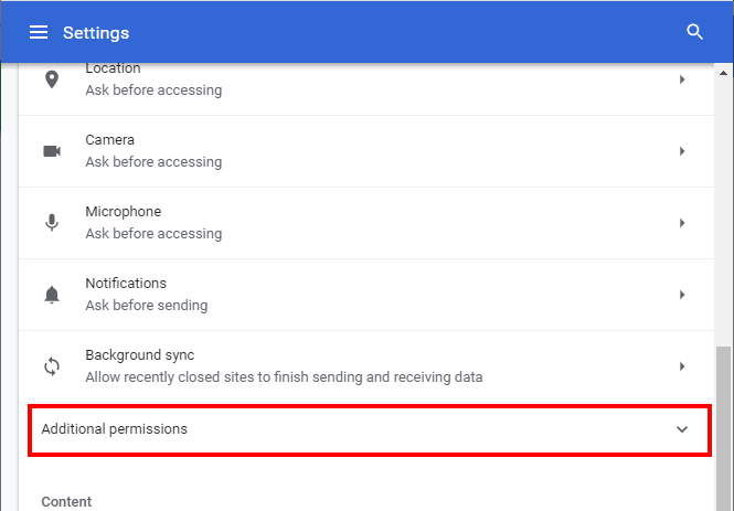 Chrome Additional permissions