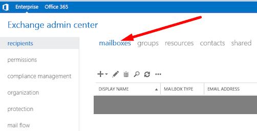 Exchange admin center Mailbox