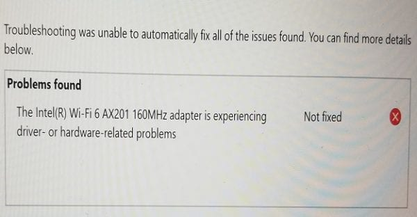 Fix Intel WI-FI 6 AX201 Adapter Driver or Hardware Issues