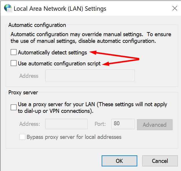 LAN settings automatic proxy