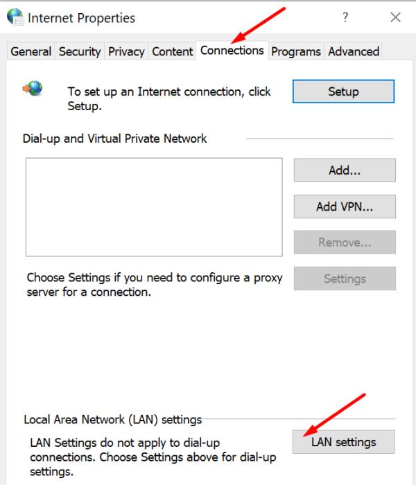 LAN settings internet options