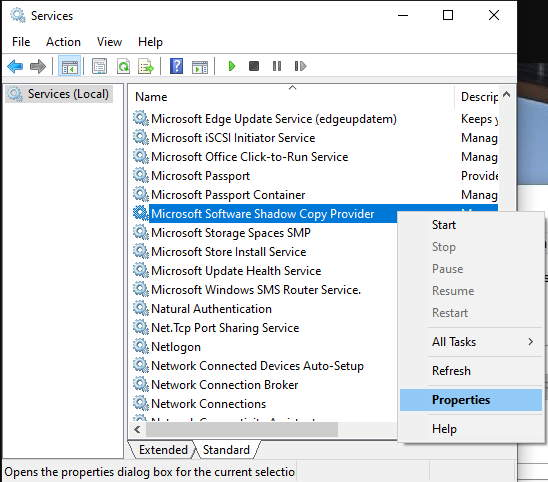 MS Software Shadow Copy Provider Properties Option