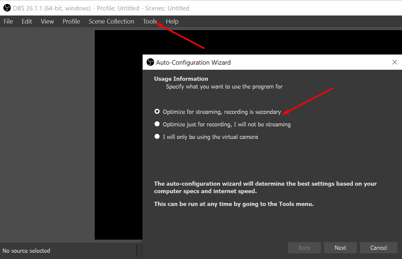 OBS optimize for streaming