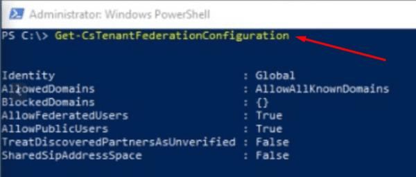 Set-CsTenantFederationConfiguration Powershell command