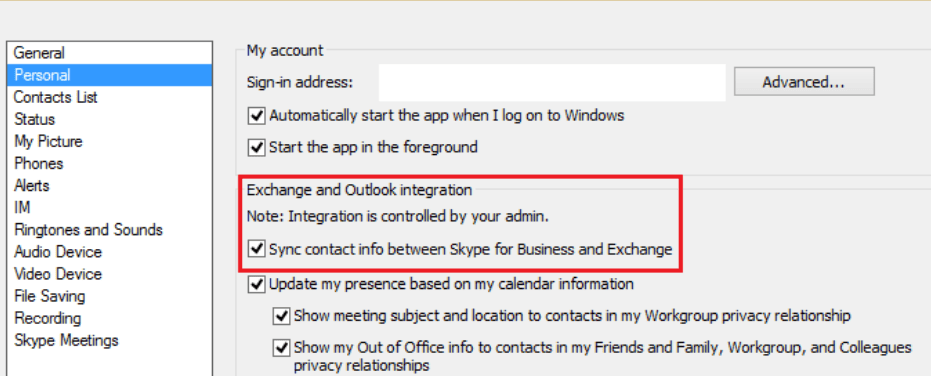Sync contact info between Skype for Business and Exchange
