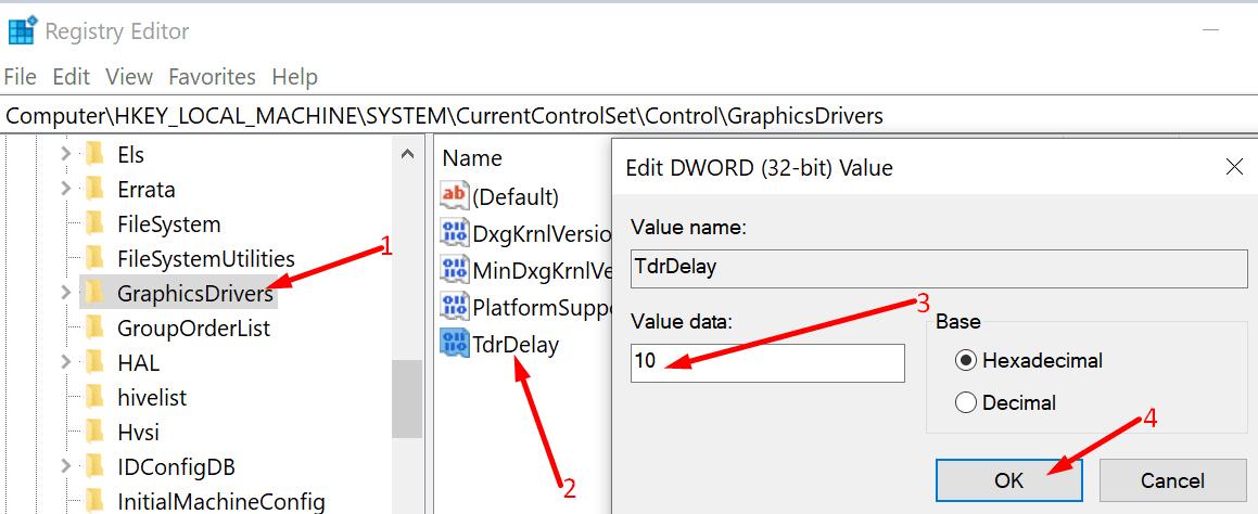 TdrDelay registry editor windows 10