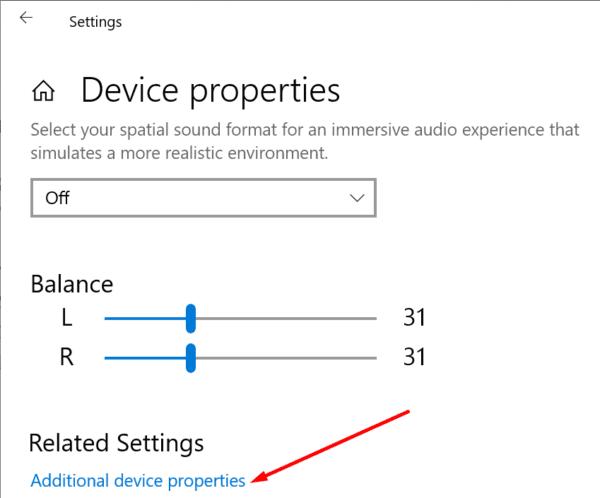 additional device properties windows 10 sound settings