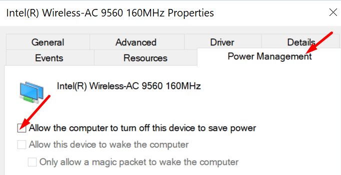 allow computer to turn off wireless adapter to save power