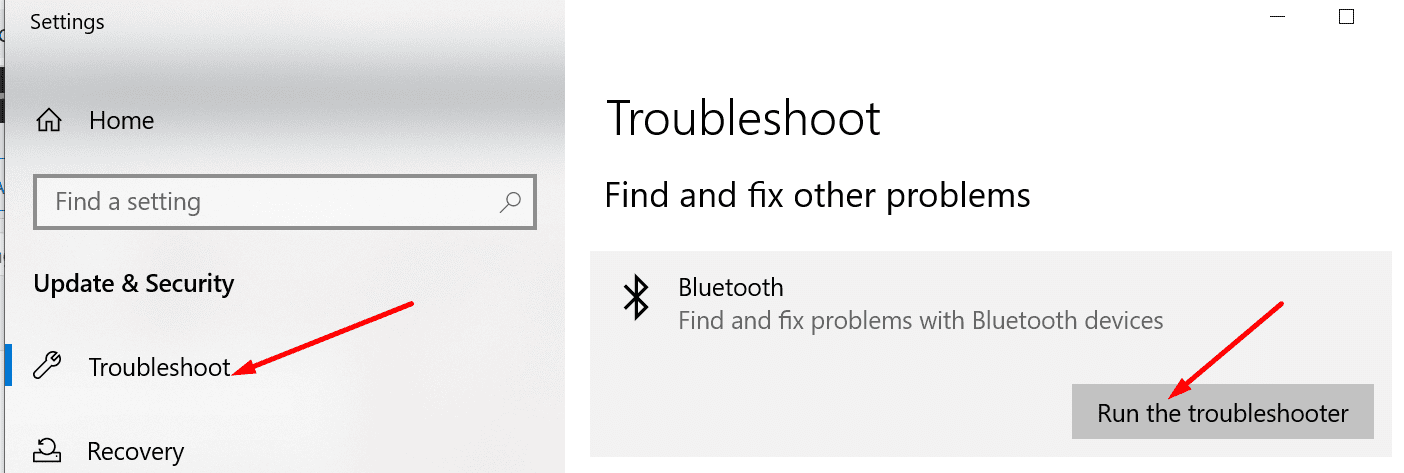 bluetooth troubleshooter windows 10