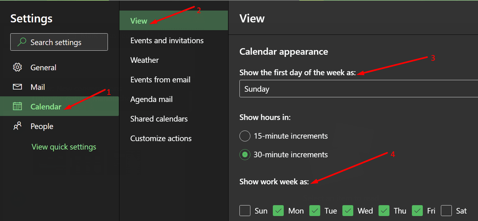 change outlook days of the week settings
