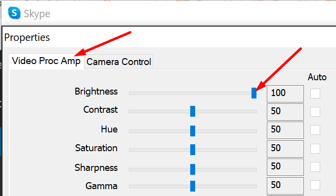 change skype camera brightness