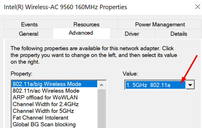 change wireless adapter values