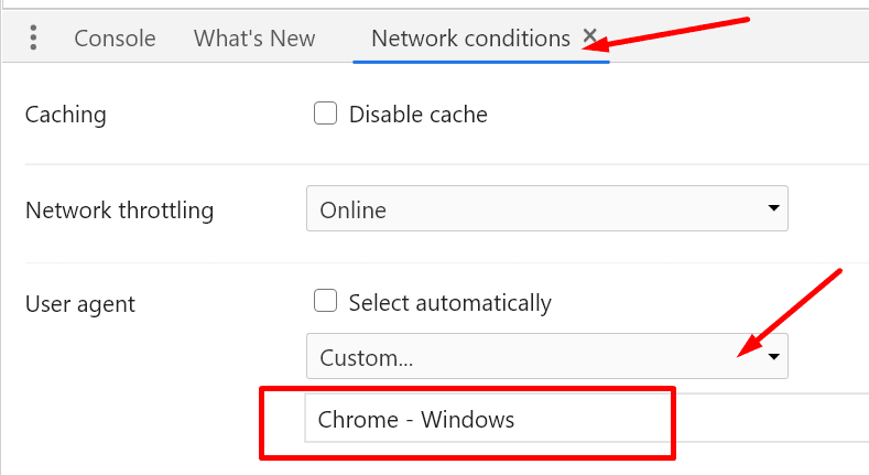 chrome network conditions user agent chrome windows