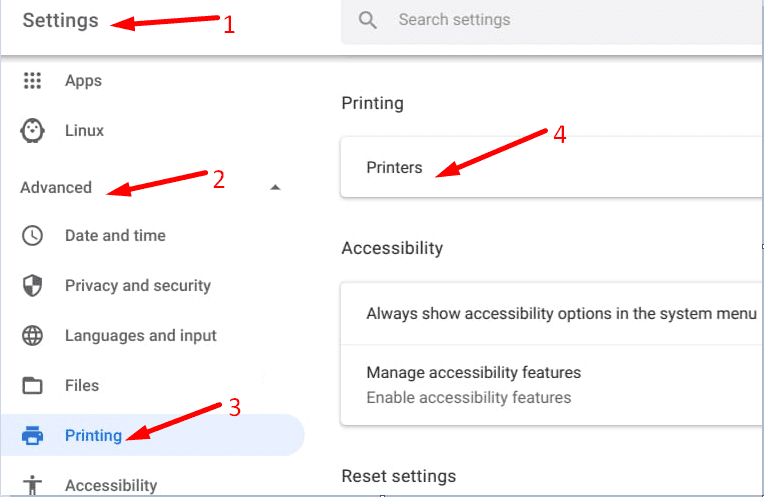 chromeOS settings advanced printers